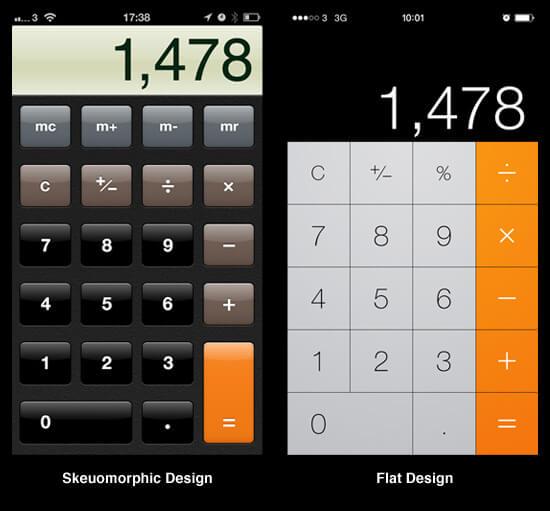comparação esqueumorfismo e flat design