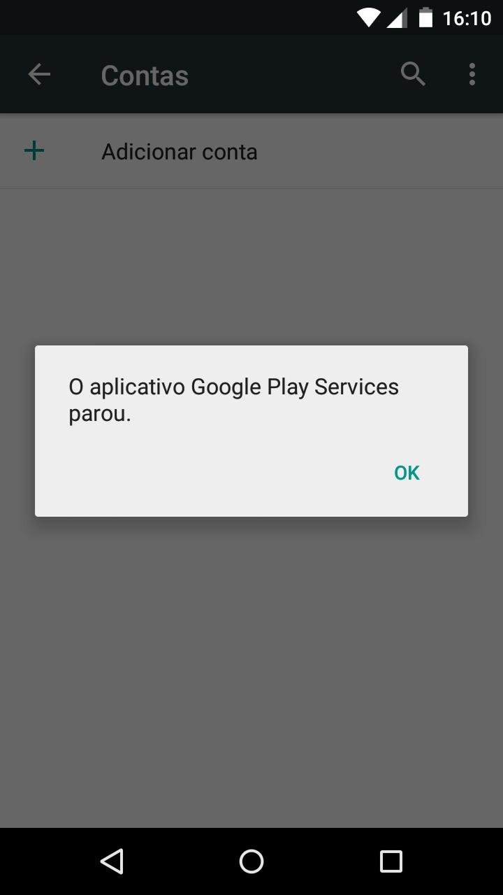 """Mensagem de erro dizendo """"O aplicativo Google Play Services parou.""""."""